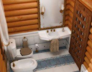 Дизайн ванної кімнати дерев'яного будинку